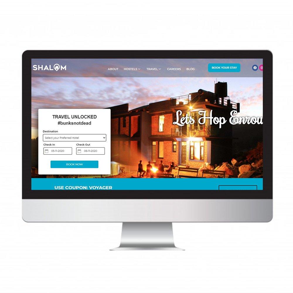 shalom back packers, website Design